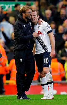 Liverpool manager Juergen Klopp and Tottenham's Harry Kane after the game. Photo: Reuters / Phil Noble