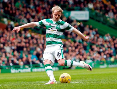 Celtic's Gary Mackay-Steven scores his side's first goal during Photo: Danny Lawson/PA Wire