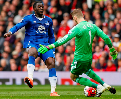 Everton's Romelu Lukaku (left) - seen here being shut down by David de Gea during yesterday's game against Manchester United – is among several Belgians likely to use Euro 2016 as a shop window for their talents Photo: Reuters / Jason Cairnduff