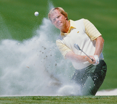 Jack Nicklaus escapes from a bunker on the 10th hole on his way to winning the 50th Masters Photo: David Cannon/Getty Images