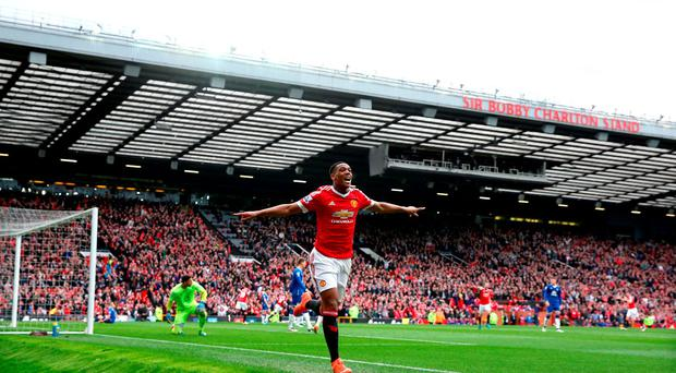 Anthony Martial celebrates after scoring for Manchester United Photo: Martin Rickett/PA Wire