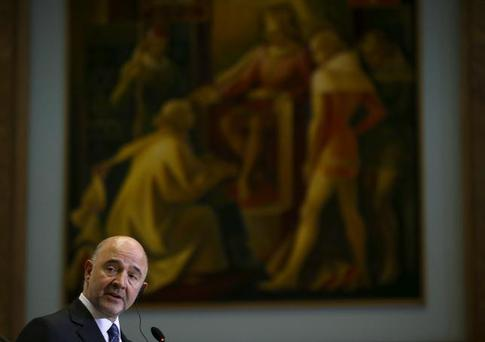 European Commissioner for Economic and Financial Affairs Pierre Moscovici speaks during a news conference with Portugal's Finance minister Mario Centeno (not pictured) in Lisbon, Portugal March 10, 2016. REUTERS/Rafael Marchante