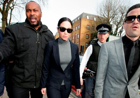 Tulisa Contostavlos arriving at Highbury Corner Magistrates' Court in London, charged with drink-driving after allegedly crashing a Ferrari. Yui Mok/PA Wire