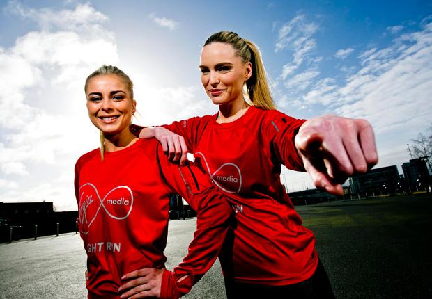 Models Jess Redden and Sarah Morrissey help announce the inaugural Virgin Media Night Run. Photo Chris Bellew / Copyright Fennell Photography 2016
