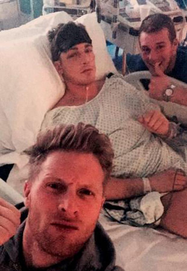Nick Blackwell awake in his hospital bed. Photo: Hennessy Sports