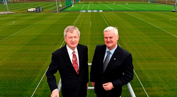 Director-General Páraic Duffy and GAA president Aogán Ó Fearghail at the official opening of the GAA National Games Development Centre in Abbotstown, Dublin. Photo: Sportsfile