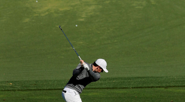Rory McIlroy in action during a practice round for the Masters Photo: AP Photo/Chris Carlson