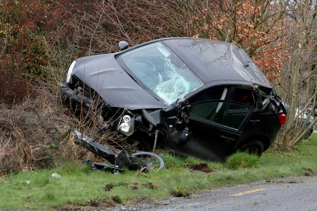 The woman and her two young children walked away with their lives after it flipped over in Co Clare. Photo: Press 22