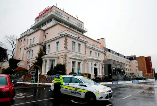Gardai outside the Regency Hotel in Drumcondra after David Byrne was shot dead