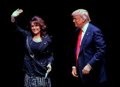Former Alaska governor Sarah Palin introduces Republican US presidential candidate Donald Trump during a town hall meeting in Racine, Wisconsin, ahead of the state's primary. Photo: Reuters