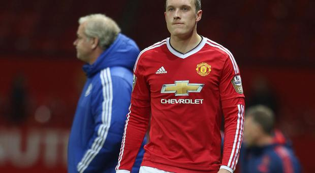 Phil Jones pictured leaving the field from Manchester United's U21 match with Chelsea. Getty