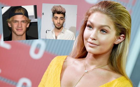 Gigi Hadid and ex-boyfriend Cody Simpson (inset, far left) and boyfriend Zayn Malik (inset, right)
