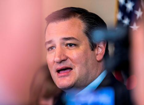 Republican presidential candidate, Senator Ted Cruz, speaks at a press briefing, Monday, April 4, 2016, in Madison, Wisconsin. (AP Photo/Andy Manis)