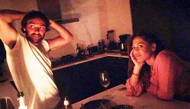 Aidan Turner at dinner with Lenora Crichlow in LA. Picture: Hilda Reed/Instagram