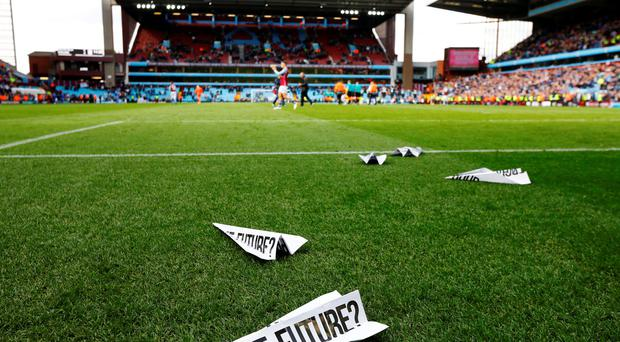 'I've no idea why people continue to go to Villa Park at the moment. The stands are emptying and there's constant protests that are having no impact, but I can't understand why they don't boycott the team completely.' Photo: Reuters / Darren Staples