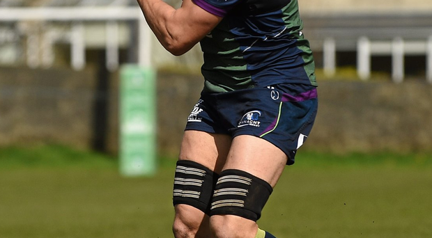 Connacht's Ultan Dillane going through his paces during yesterday's training session at the Sportsground.. Photo: Paul Mohan/Sportsfile