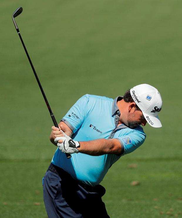 Graeme McDowell concentrates during a practice round for the Masters at Augusta. Photo: Chris Carlson\AP