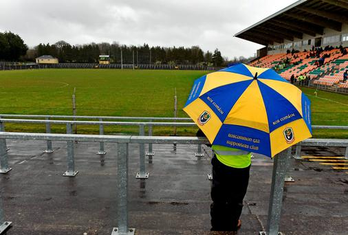 A steward takes up their position ahead of the Roscommon v Dublin game at Páirc Seán Mac Diarmada, Carrick-on-Shannon. Picture credit: Brendan Moran / SPORTSFILE