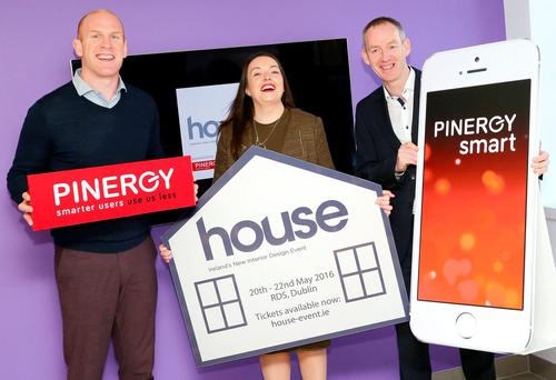 Paul O'Connell, a brand ambassador and shareholder in Pinergy, INM sponsorship and events manager Cliona Carroll with Pinergy CEO Enda Gunnell. Photo: Marc O'Sullivan
