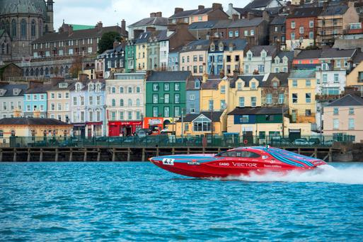 The 2,200hp Vector Martini V40 powerboat performs high-speed manoeuvres in Cork harbour. Photo: Michael Mac Sweeney/Provision