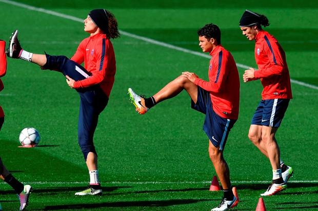 David Luiz and Thiago Silva going through their paces during training yesterday. GETTY