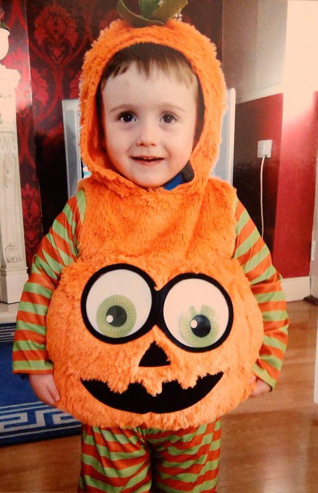 Tyler Joyce in his halloween costume last year. Picture credit; INM