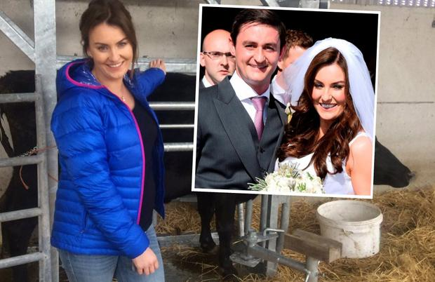 Mairead Ronan on RTE's On The Farm and (inset) with husband Louis Ronan on their wedding day last summer