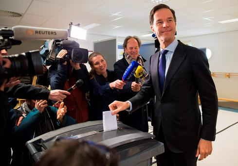Dutch Prime Minister Mark Rutte casts his vote for the consultative referendum on the association between Ukraine and the European Union, in the Hague, the Netherlands. Reuters/Michael Kooren