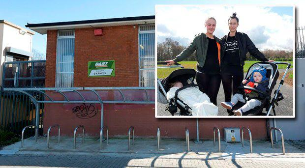 Main picture: Shankill Dart station near where the assaults took place. Inset: Sisters, Shauna Daly, 22, right, and Sophie Daly, 21 with their children (Photo: Damien Eagers)
