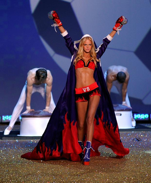 Model Erin Heatherton walks on stage during the 2010 Victoria's Secret Fashion Show