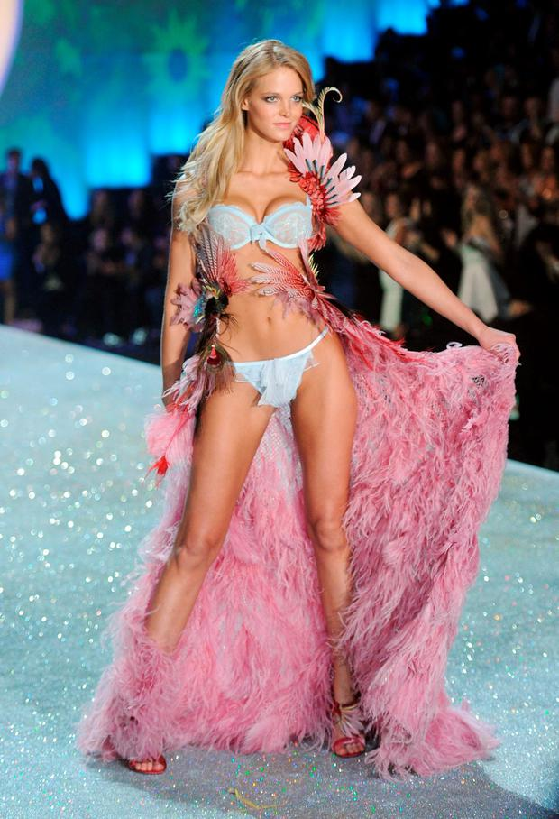 Model Erin Heatherton walks the runway at the 2013 Victoria's Secret Fashion Show at Lexington Avenue Armory on November 13, 2013 in New York City. (Photo by Jamie McCarthy/Getty Images)