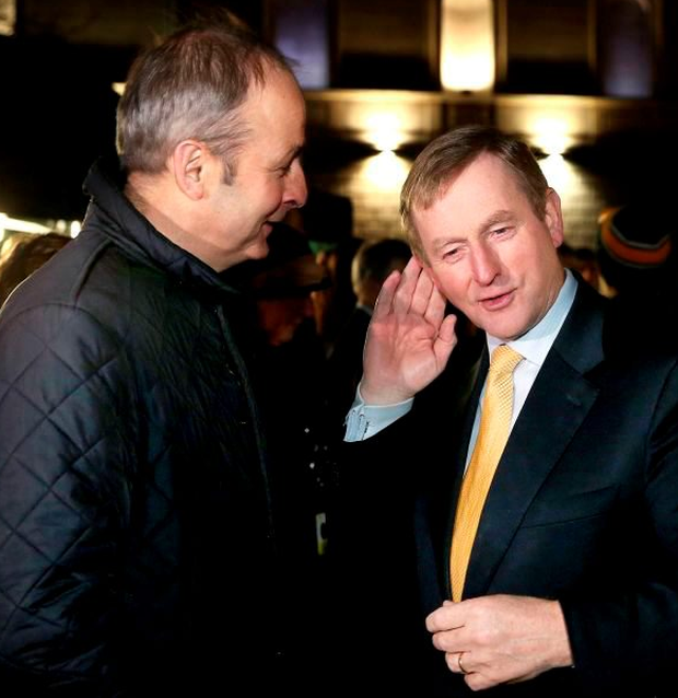 Enda Kenny of FG (right) and FF's Micheál Martin: about to begin the coalition courtship dance? Photo: Maxpix