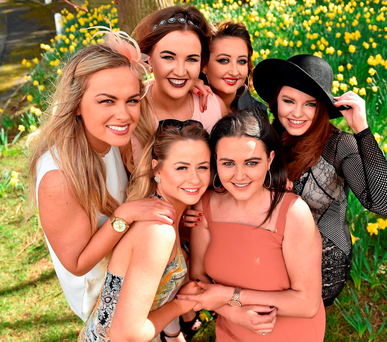 UCD classmates, clockwise from far left, Niamh Dunne, Niamh Reilly, Nicole Gernan, Aoife Crowley, Emma Marry, and Alison O'Dogherty at the races at Leopardstown, Co Dublin Photo: Cody Glenn / SPORTSFILE