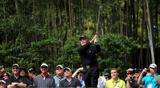 AUGUSTA, GEORGIA - APRIL 06: Gary Player plays a shot during the Par 3 Contest prior to the start of the 2016 Masters Tournament at Augusta National Golf Club on April 6, 2016 in Augusta, Georgia. (Photo by David Cannon/Getty Images)