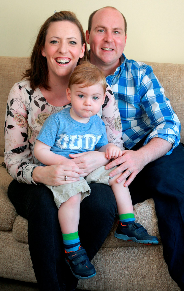 Jude Miley with his mum and dad Anne Louise and Greville from Dundrum in Dublin Photo: Ronan Lang/Feature File