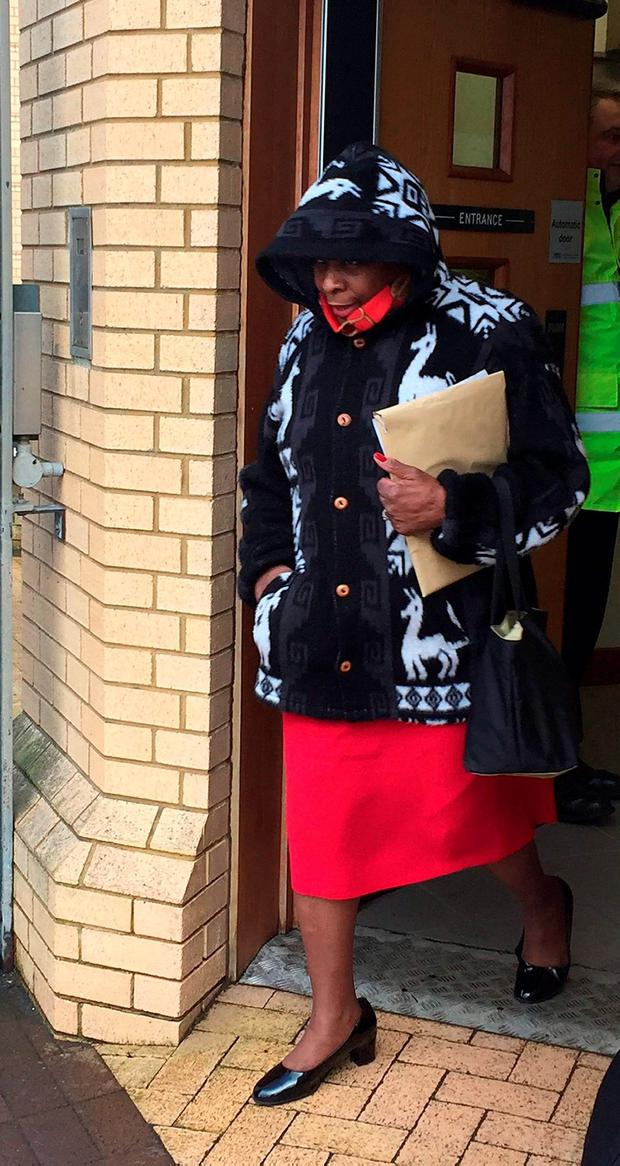 Sheila Wire leaves Antrim Crown Court after giving evidence in the trial of Jeremiah Mathis Thede Credit: David Young/PA Wire