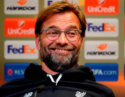 Liverpool boss Jurgen Klopp was the centre of attention during yesterday's pre-match press conferences in Dortmund. Photo: Sascha Steinbach/Bongarts/Getty Images