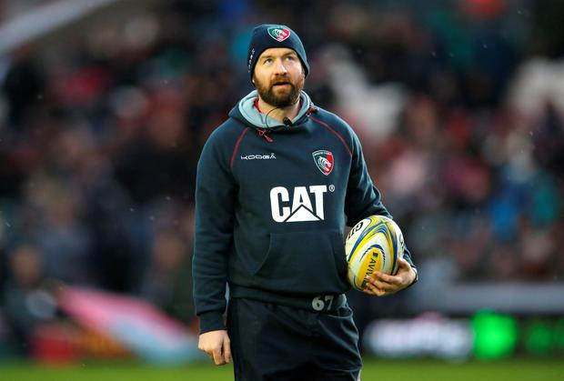 There may be no Irish team left in the Champions Cup but Geordan Murphy (Leicester assistant), pictured, Mark McCall (Saracens coach) and Ronan O'Gara (Racing 92 assistant) will guarantee an Irish voice in the knockout stages this weekend (Photo by David Rogers/Getty Images)