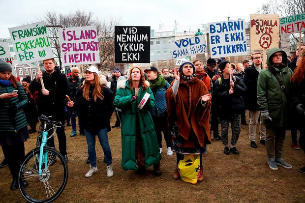 Protesters outside of the Parliament building in Reykjavik, Iceland, in the wake of the Panama Papers crisis which saw prime minister Sigmundur David Gunnlaugsson step aside Photo: Spencer Platt/Getty Images