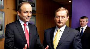 Fianna Fail leader Micheal Martin and Fine Gael leader Enda Kenny