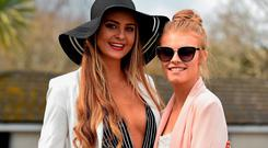 Racegoers Eimear Brennan, from Limerick, and Aisling Finucane, from Wexford, at the races. Leopardstown, Co. Dublin. Picture: David Fitzgerald / SPORTSFILE