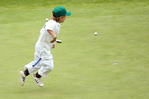 AUGUSTA, GEORGIA - APRIL 06: The children of Soren Kjeldsen of Denmark play on the ninth green during the Par 3 Contest prior to the start of the 2016 Masters Tournament at Augusta National Golf Club on April 6, 2016 in Augusta, Georgia. (Photo by Andrew Redington/Getty Images)