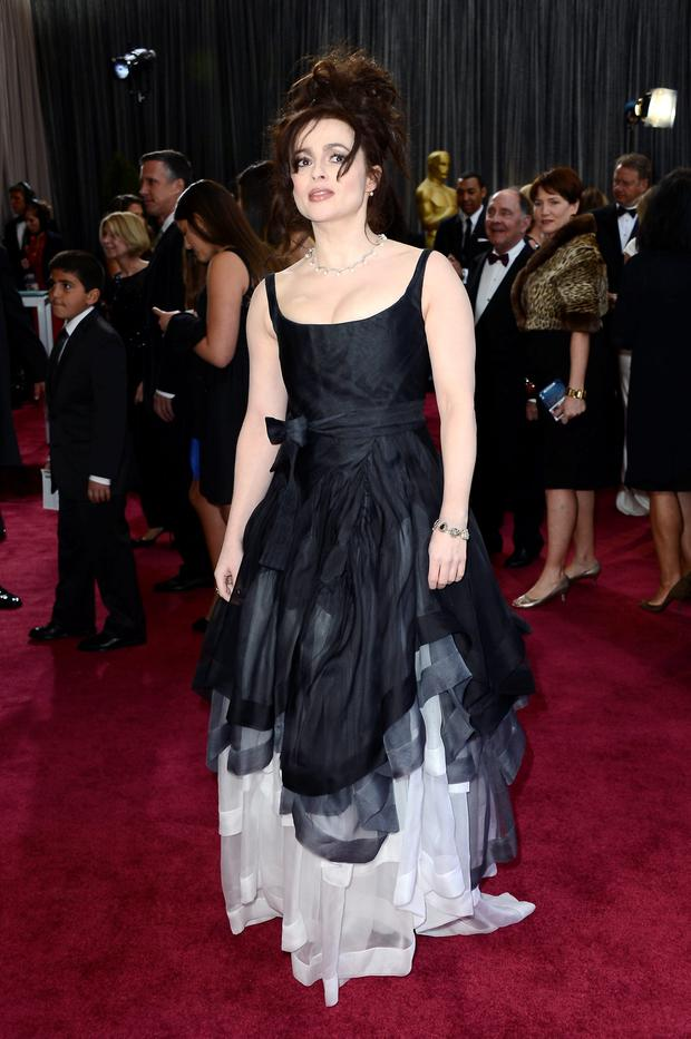 Actress Helena Bonham Carter arrives at the Oscars at Hollywood & Highland Center on February 24, 2013 in Hollywood, California. (Photo by Frazer Harrison/Getty Images)