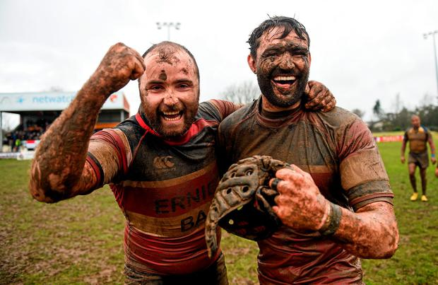 Wicklow captain Wes Wojnar, right, celebrates with team-mate Stephen Duffy after the Bank of Ireland Provincial Towns Cup semi-final showdown with Clondalkin at Oakpark in Carlow - Wicklow won 16-13 (SPORTSFILE)