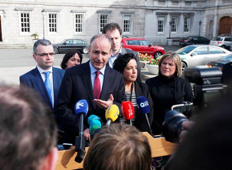 Fianna Fail leader Micheal Martin pictured addressing media at Leinster House. Photo: Stephen Collins/Collins Photos