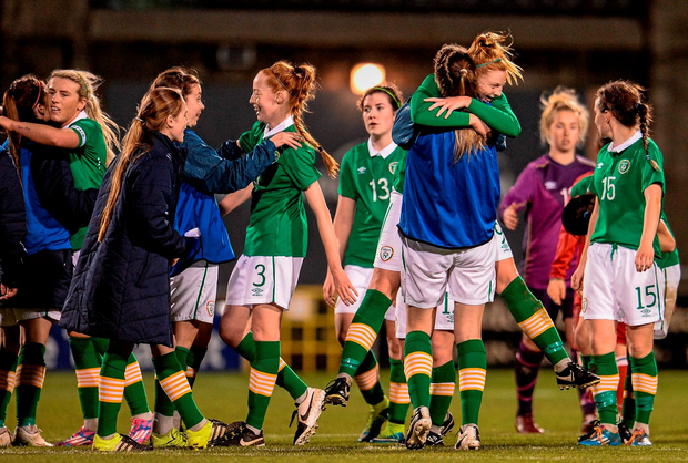 Ireland players celebrate after the game Photo: Sportsfile