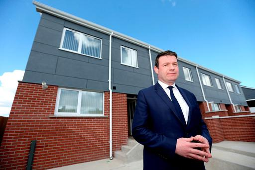 Environment Minister Alan Kelly visits some modular homes in Ballymun – the Tipperary TD has struggled to fix the housing crisis. Photo: Gerry Mooney