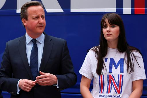 David Cameron joins students at the launch of the 'Brighter Future In' campaign bus at Exeter University