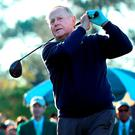 Jack Nicklaus plays his shot from the first tee during the ceremonial tee off to start the first round of the 2016 Masters Tournament at Augusta (Andrew Redington/Getty Images)