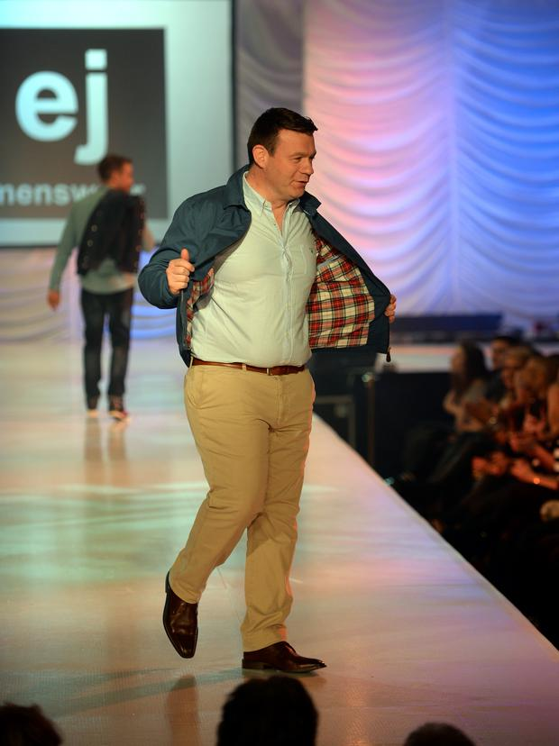 Alan Kelly on the catwalk at the FAI Fashion Show. Citywest Hotel, Dublin. Picture: Caroline Quinn